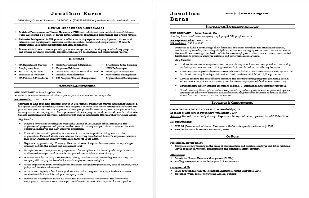 hr generalist resume sample