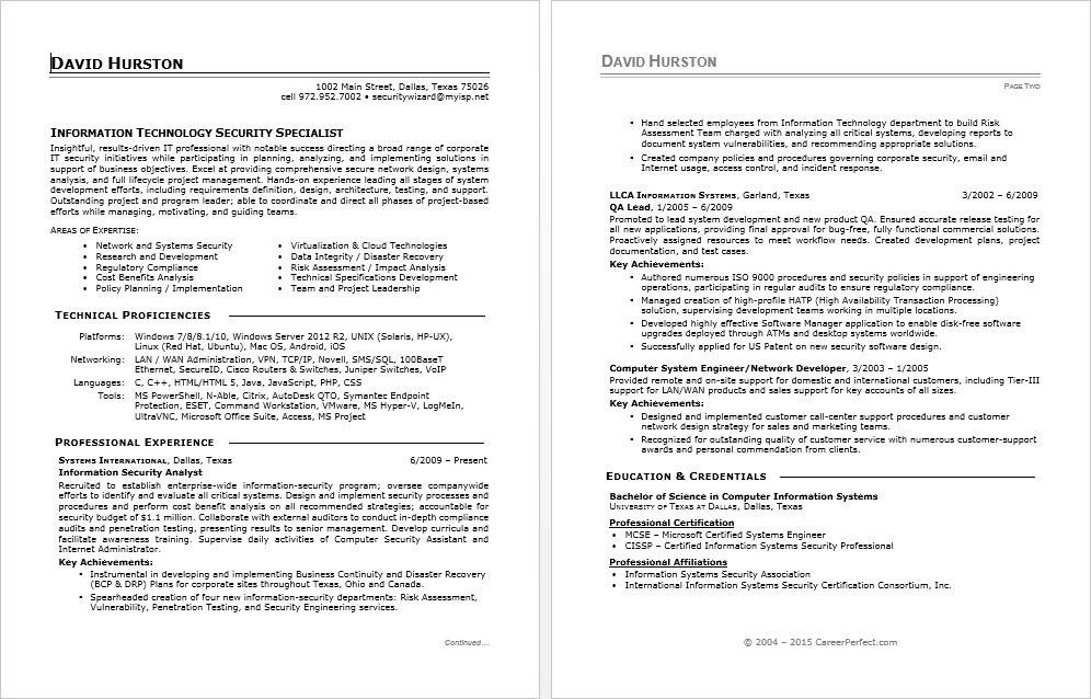 sle resume for an information security specialist