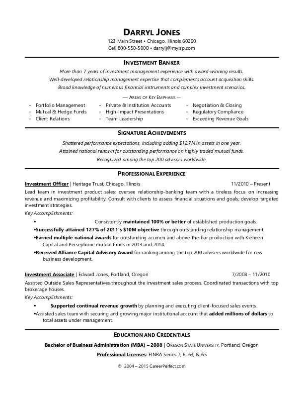 Investment Banker Resume Sample Monster Com