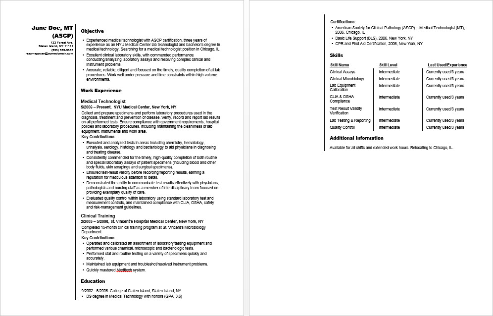 medical technologist sample resume