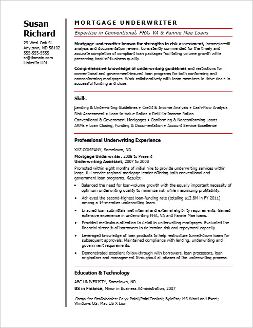 28 mortgage underwriter resume sle auto loan