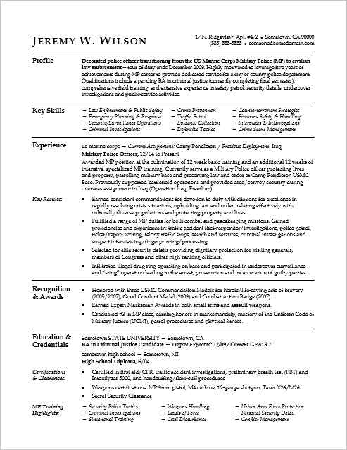 Sample Resume for a Military-to-Civilian Transition