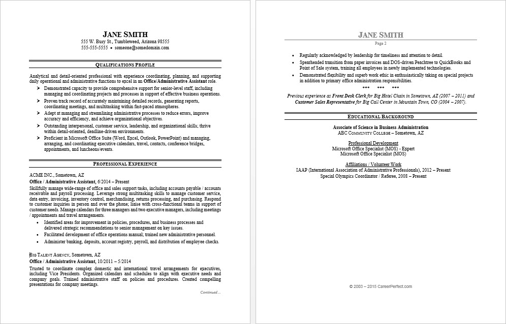 resume templates for office assistant