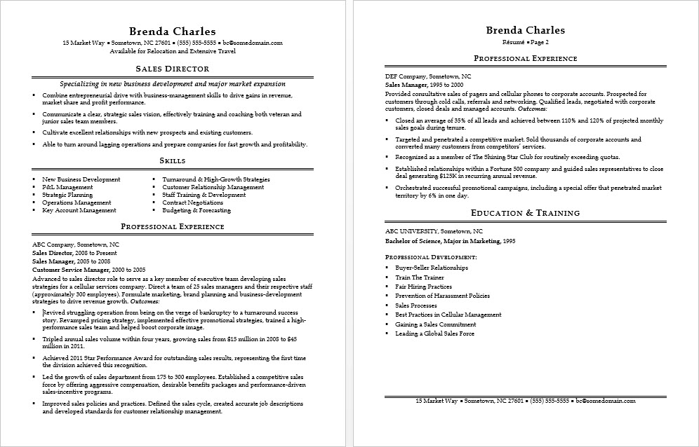 sample resume for a sales director