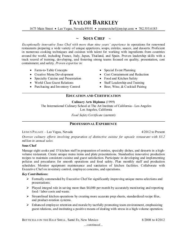 chef resume sle experience resumes 28 images resume