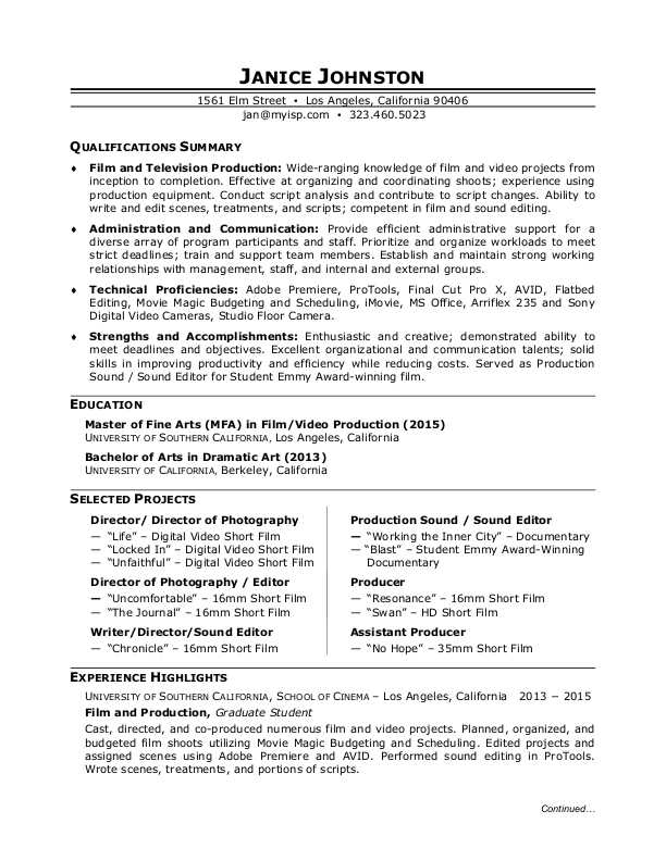film production resume sample