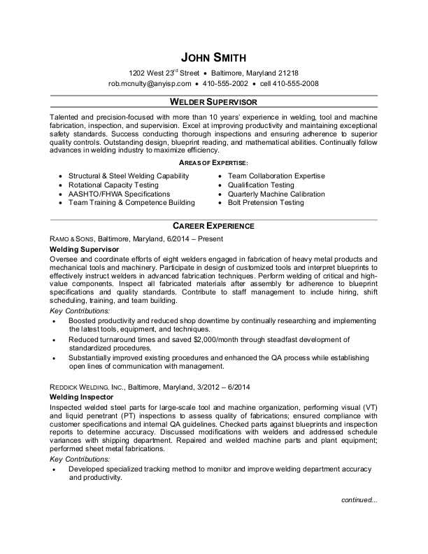 welder supervisor resume sle