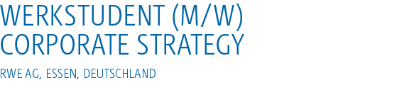 Werkstudent (m/w) Corporate Strategy
