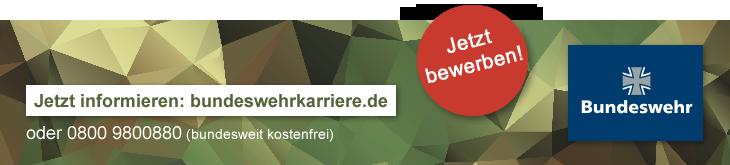 Kontakt: www.bundeswehrkarriere.de oder telefonisch 0800 9800880 (bundesweit kostenfrei)