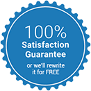 Seal for 100% Satisfaction Guarantee or we will rewrite it for free