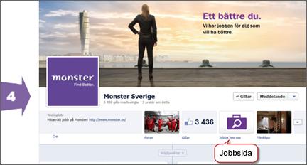 Exempel på Facebooksida med Jobbsida från BeKnown