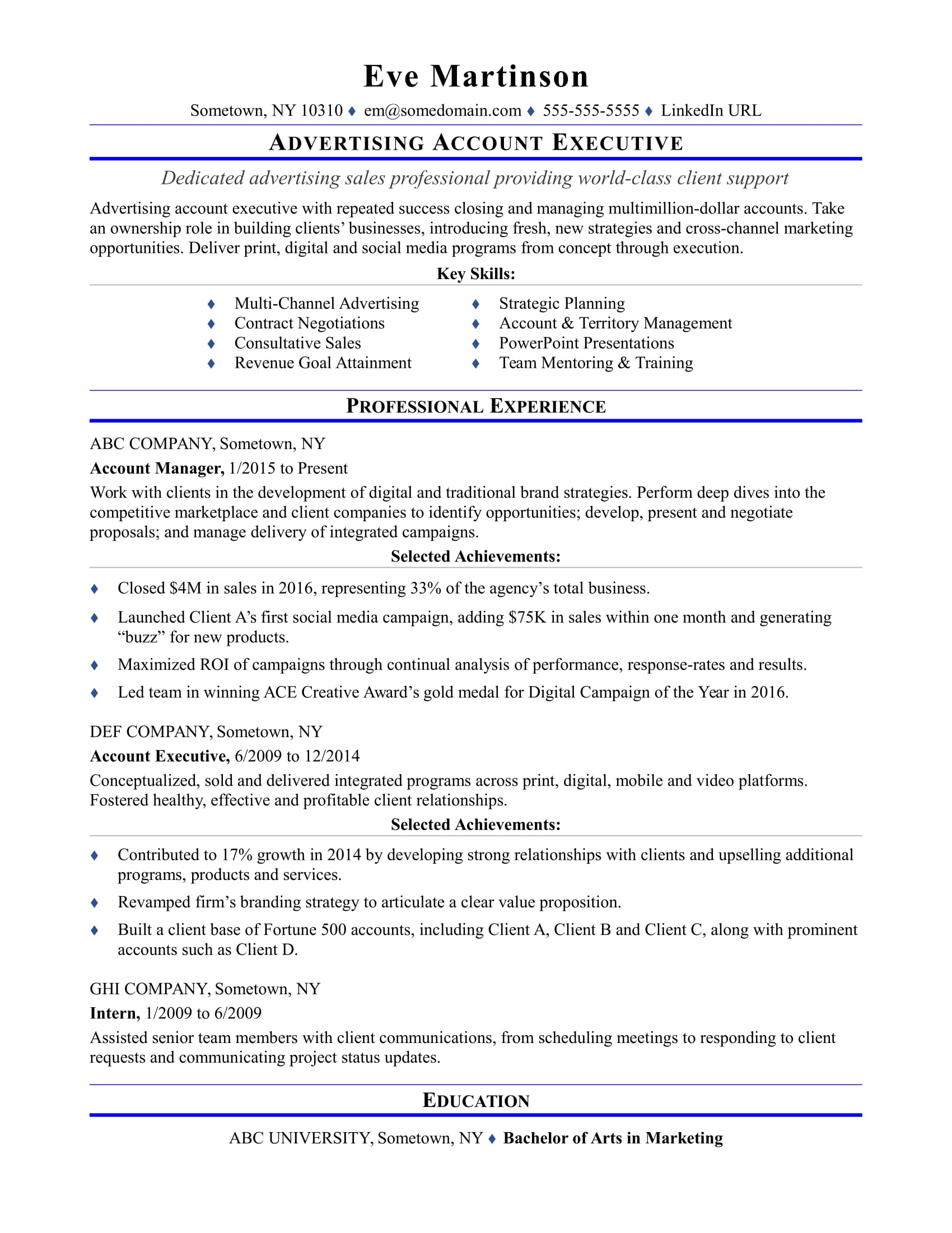 Broadcast media buyer resume