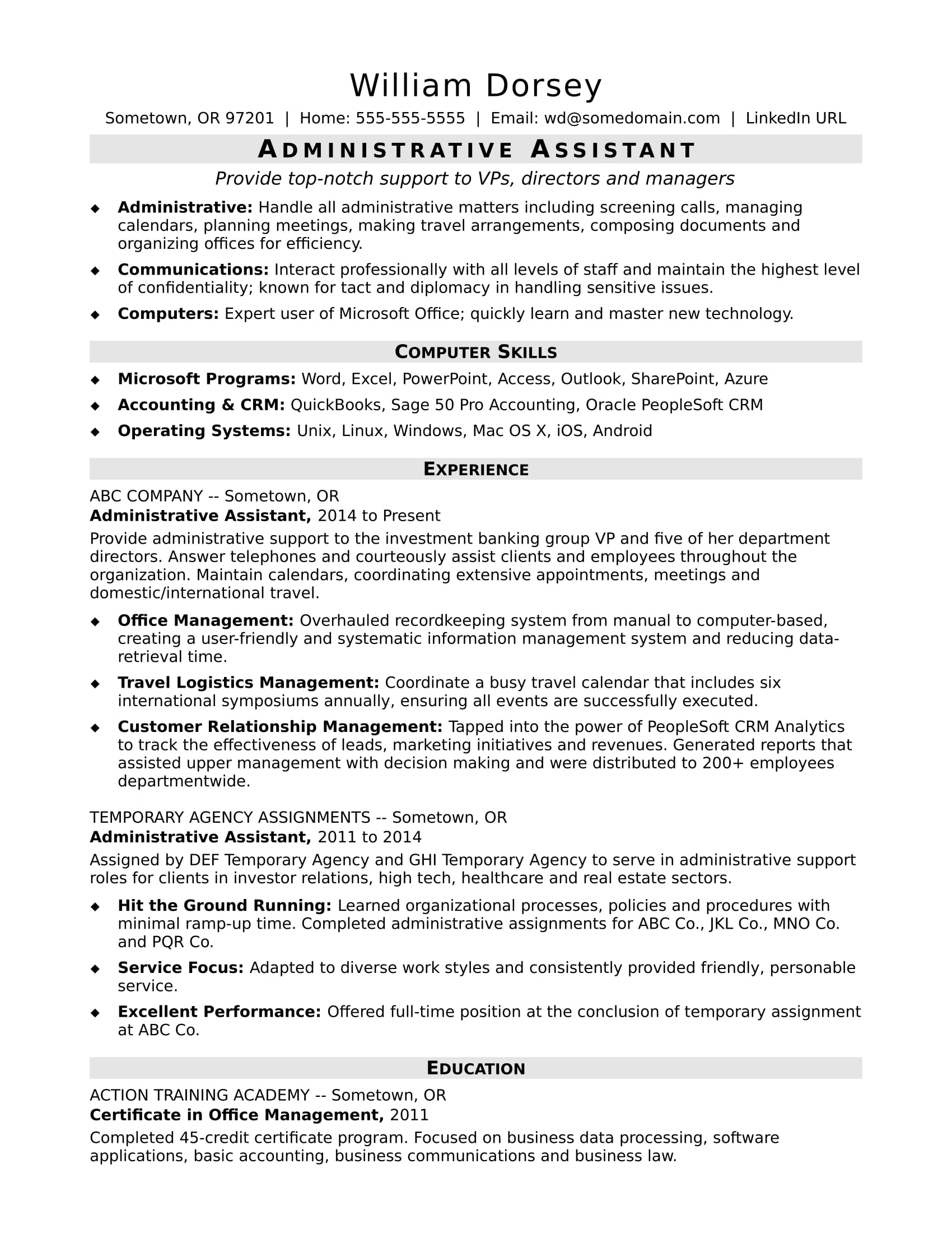 administrative-istant-midlevel Sample Administrative Istant Resume Format on medical office, clerical office, assistant highlight,