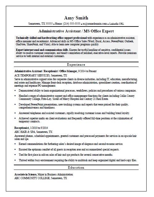 temp admin resume sample