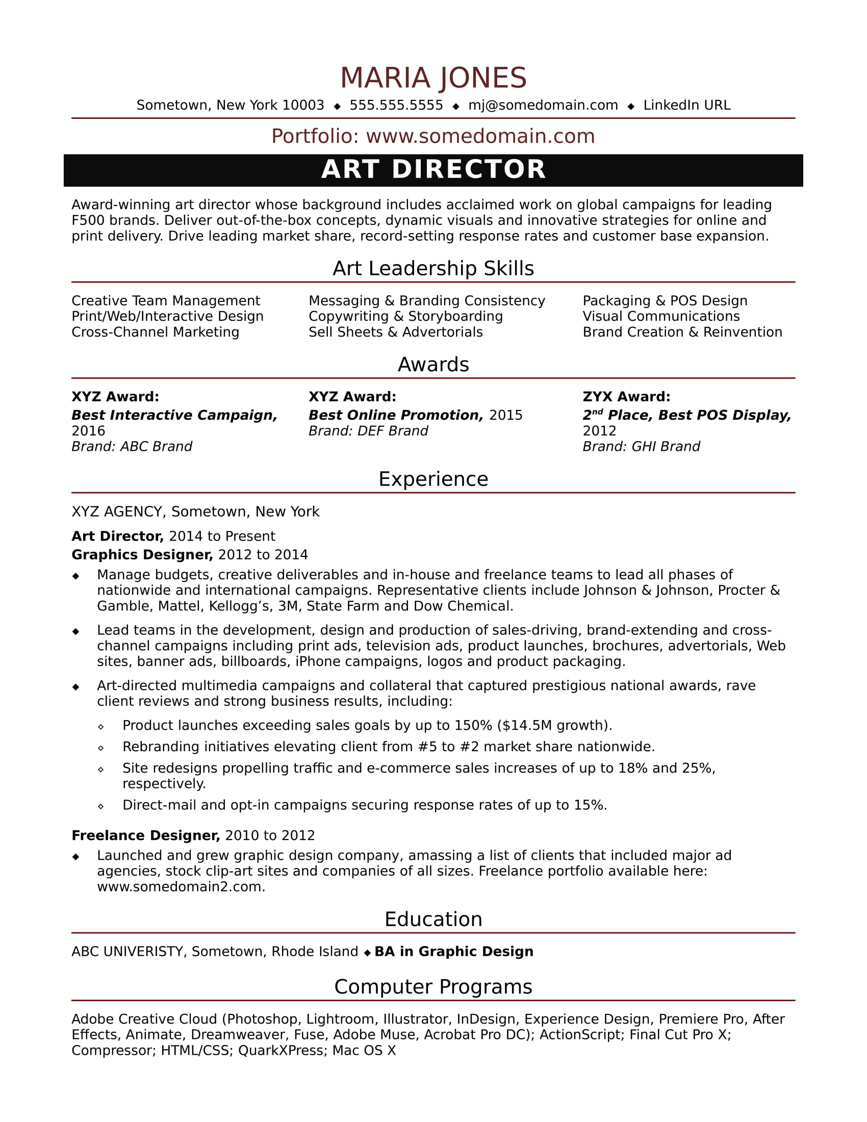sample resume for a midlevel art director