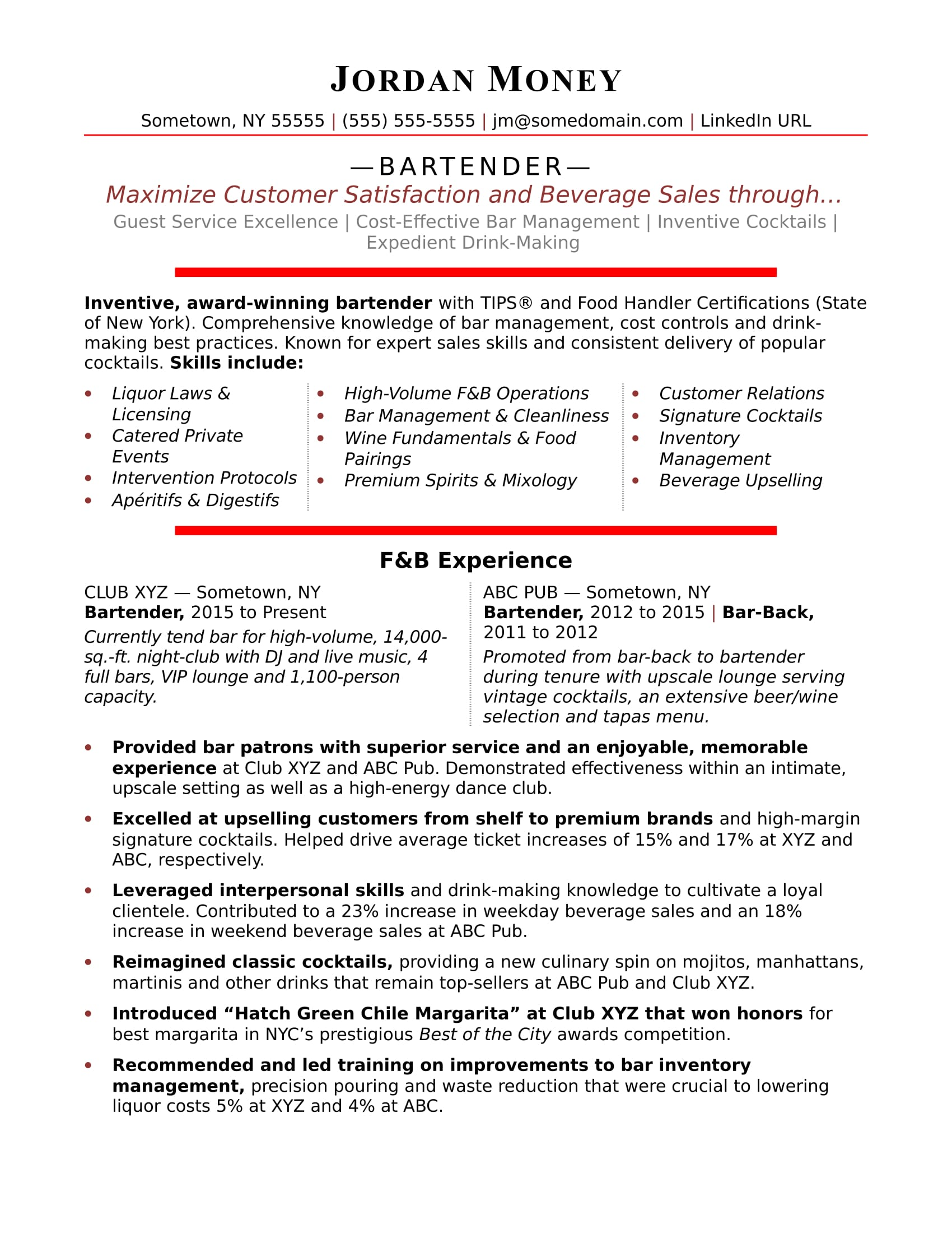 bartender resume sample