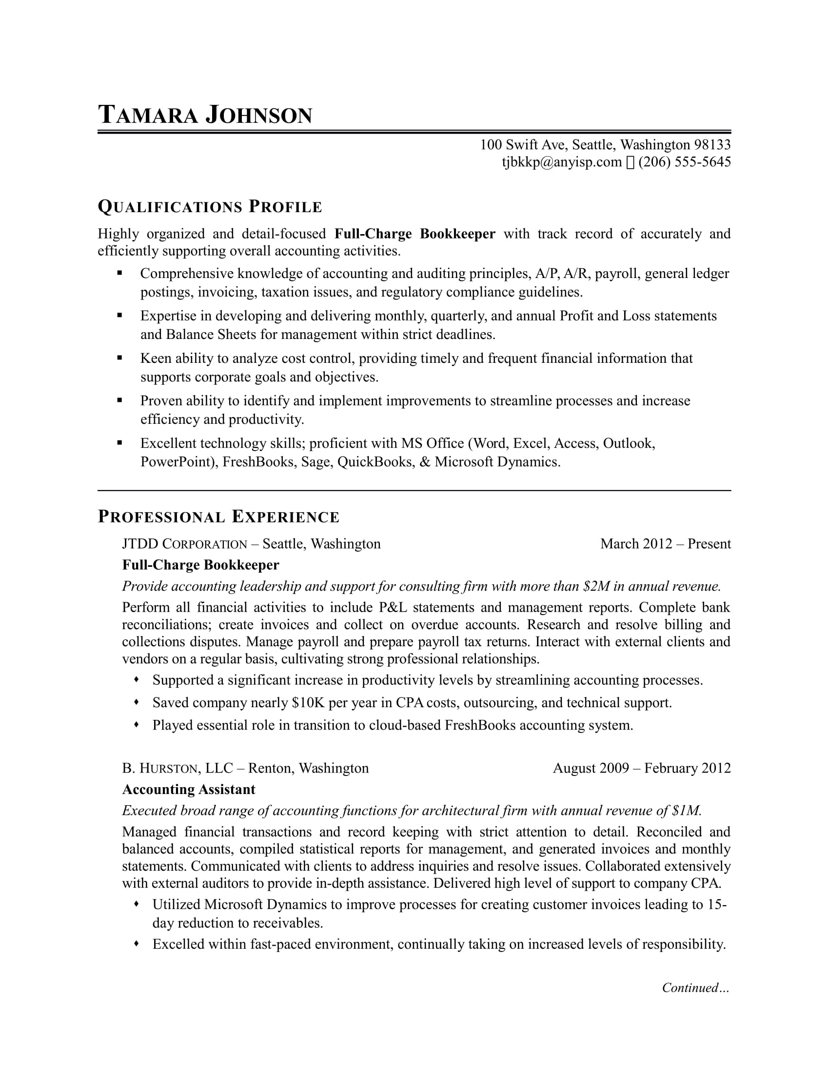 Bookkeeper Resume Sample   Monster