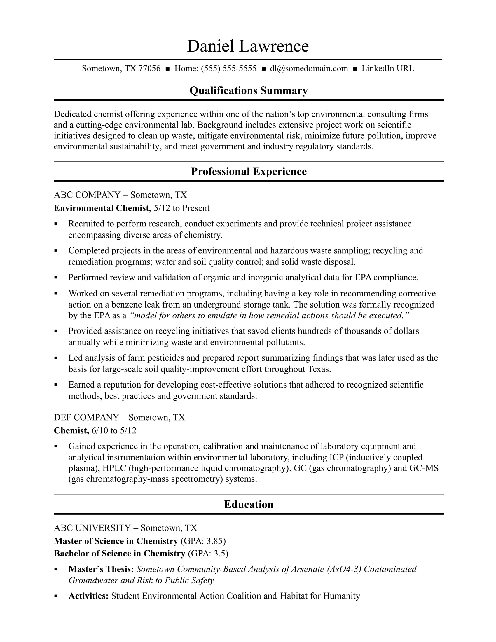 midlevel chemist resume sample