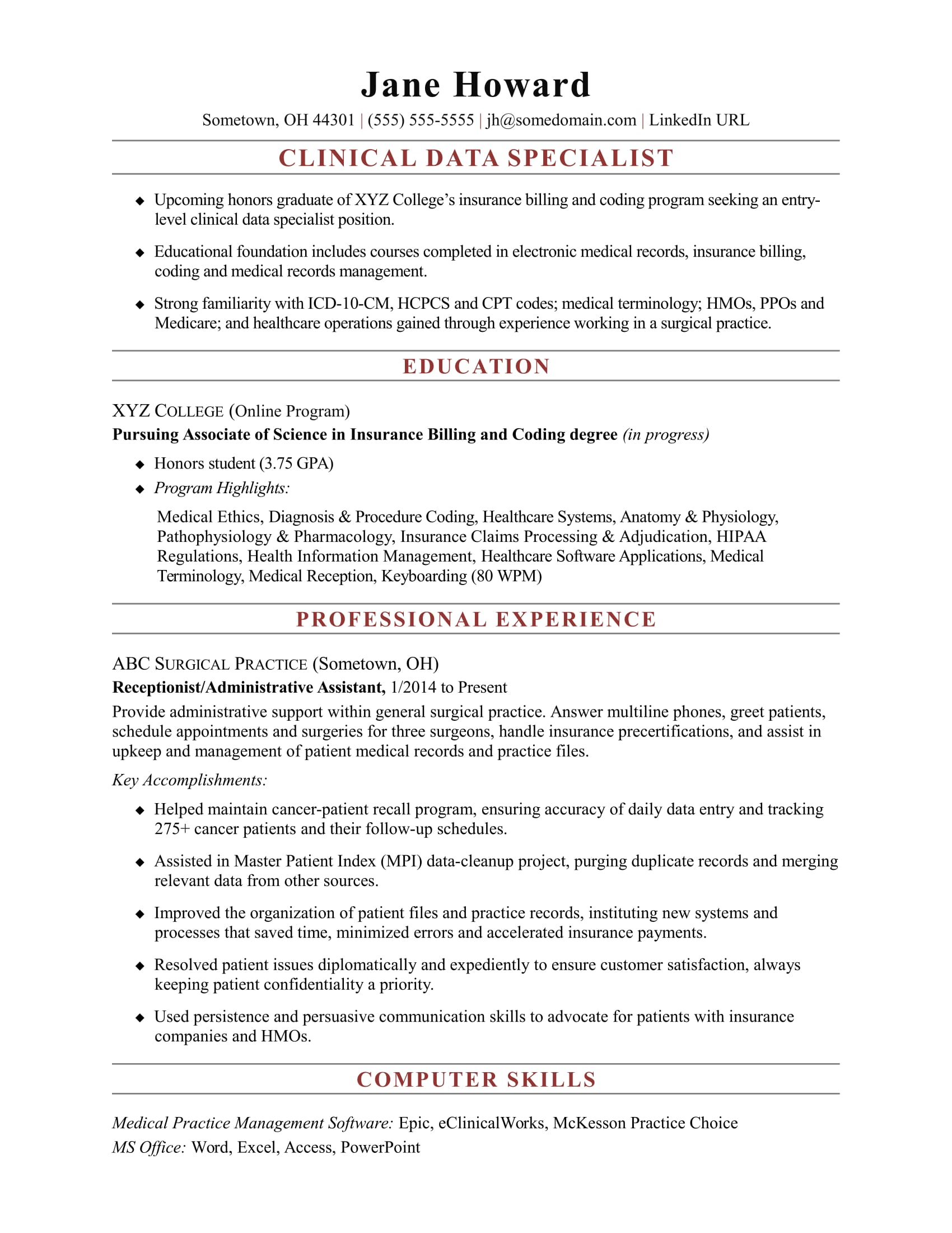 Sample Resume for an Entry-Level Clinical Data Specialist