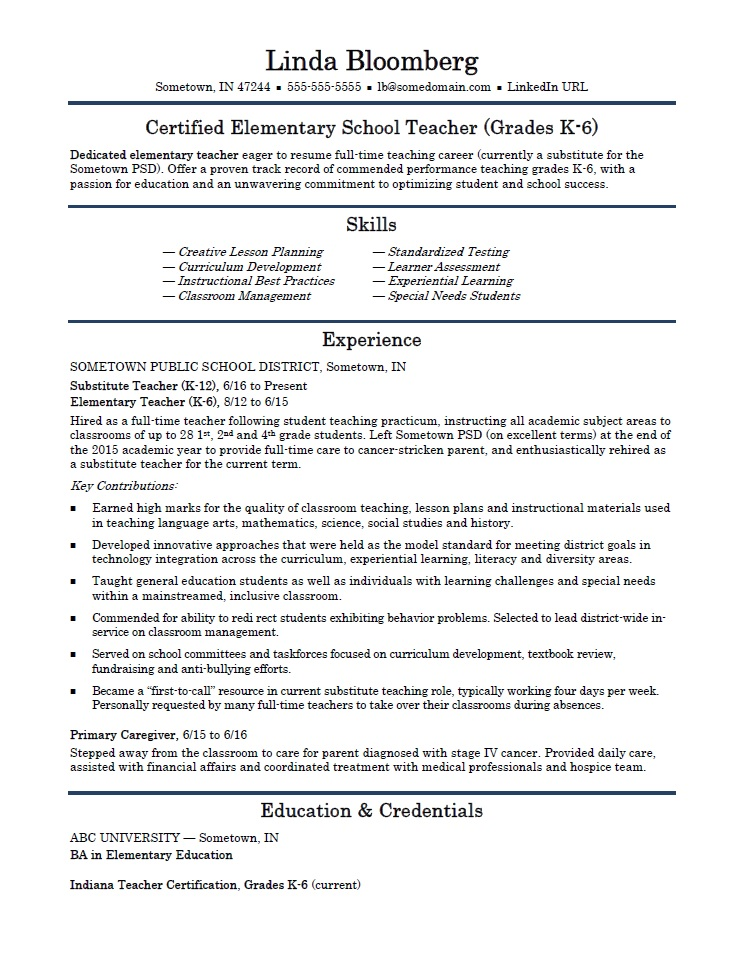 Elementary School Teacher Resume Template Monster Com