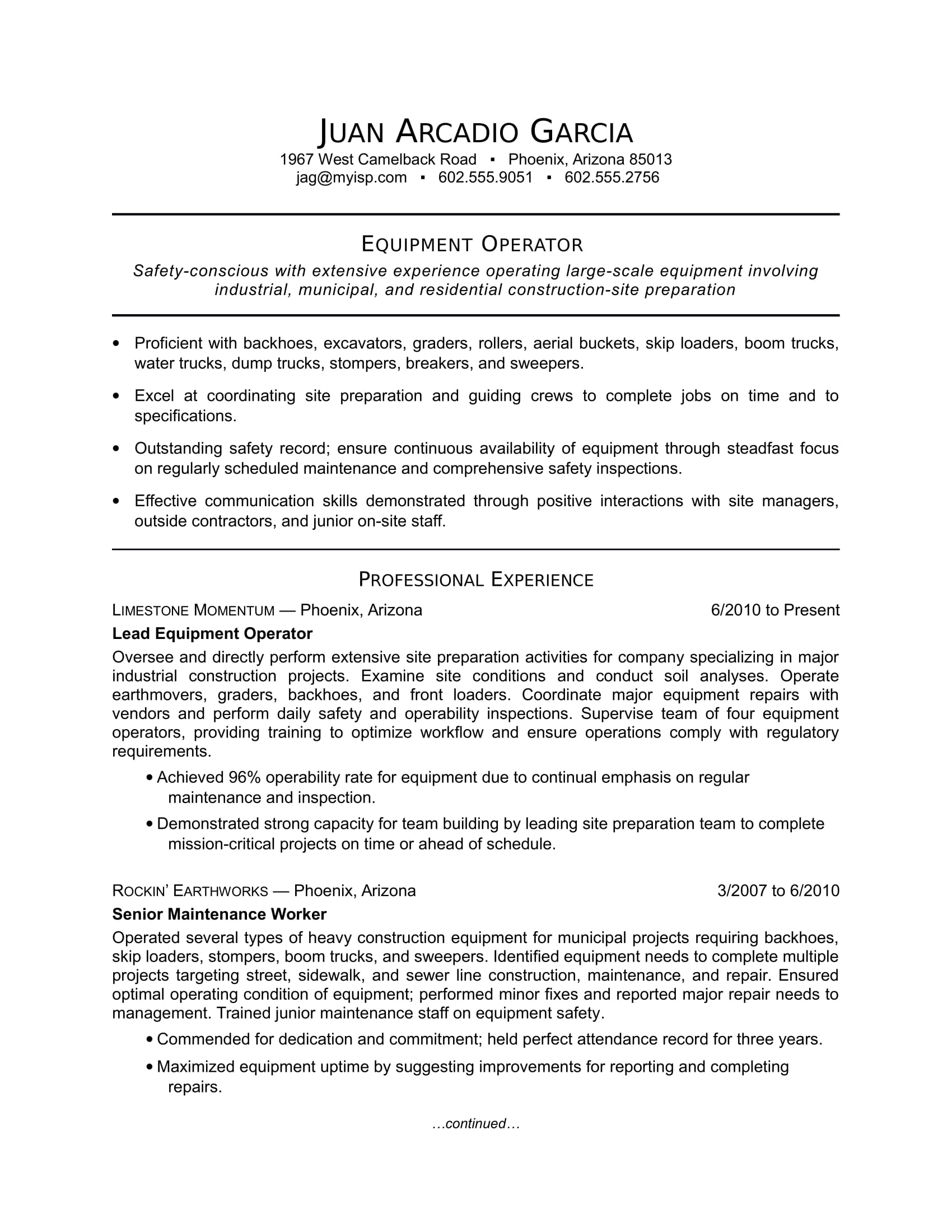 equipment operator resume sample monstercom