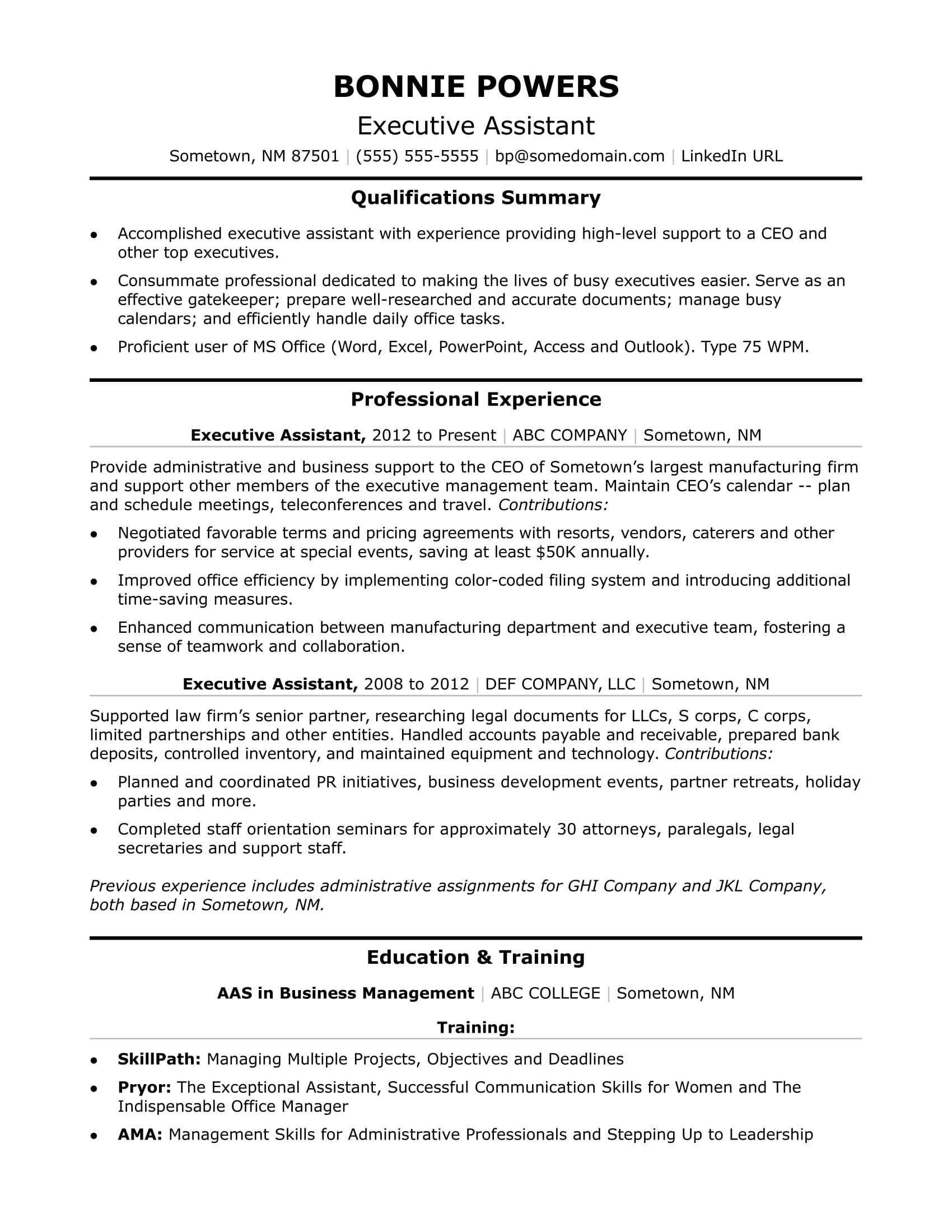 executive-istant Sample Administrative Istant Resume Format on medical office, clerical office, assistant highlight,