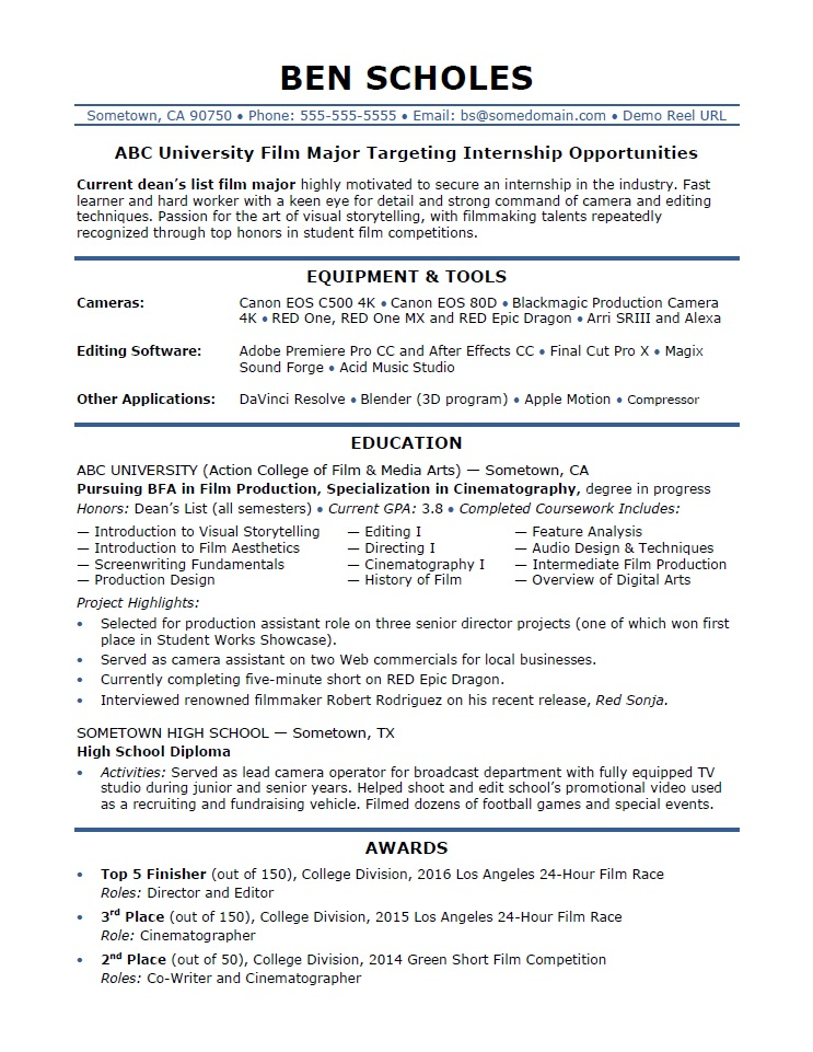 Internship Resume Sample Monster Com