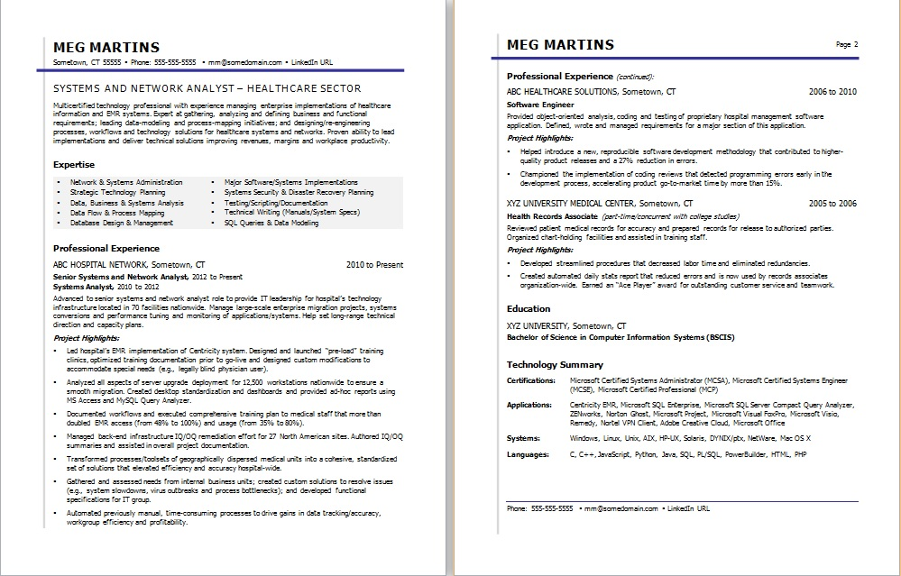 Sample Resume for a Healthcare IT Professional