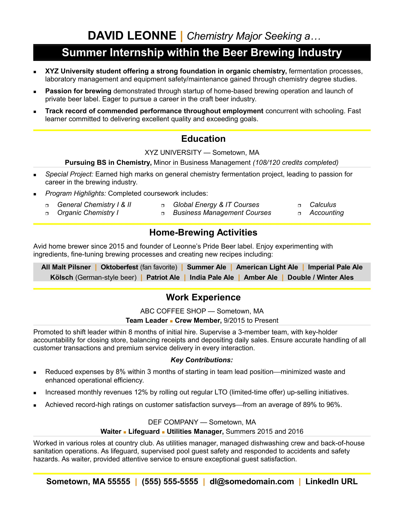 internship resume sample. Black Bedroom Furniture Sets. Home Design Ideas