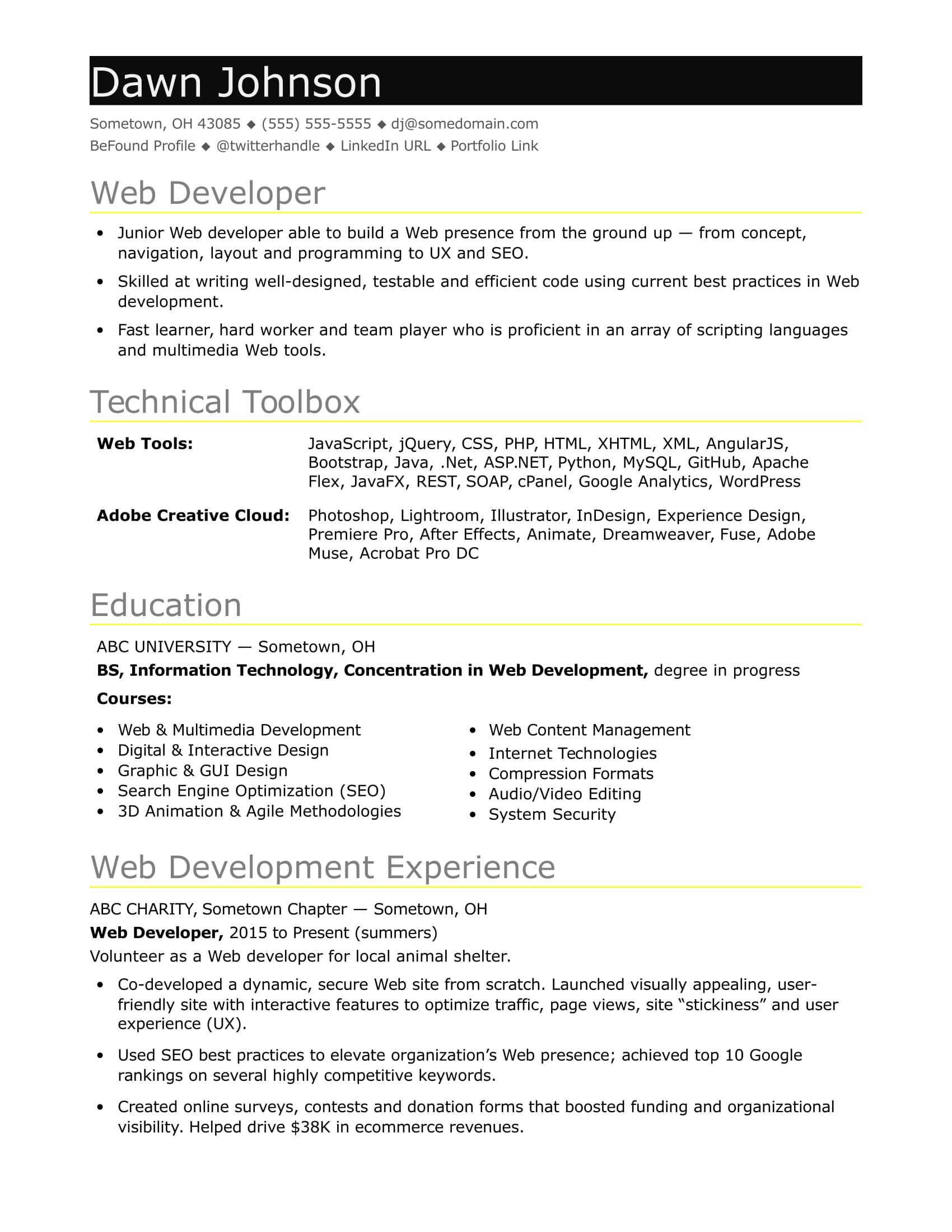 Sample Resume for an Entry-Level IT Developer