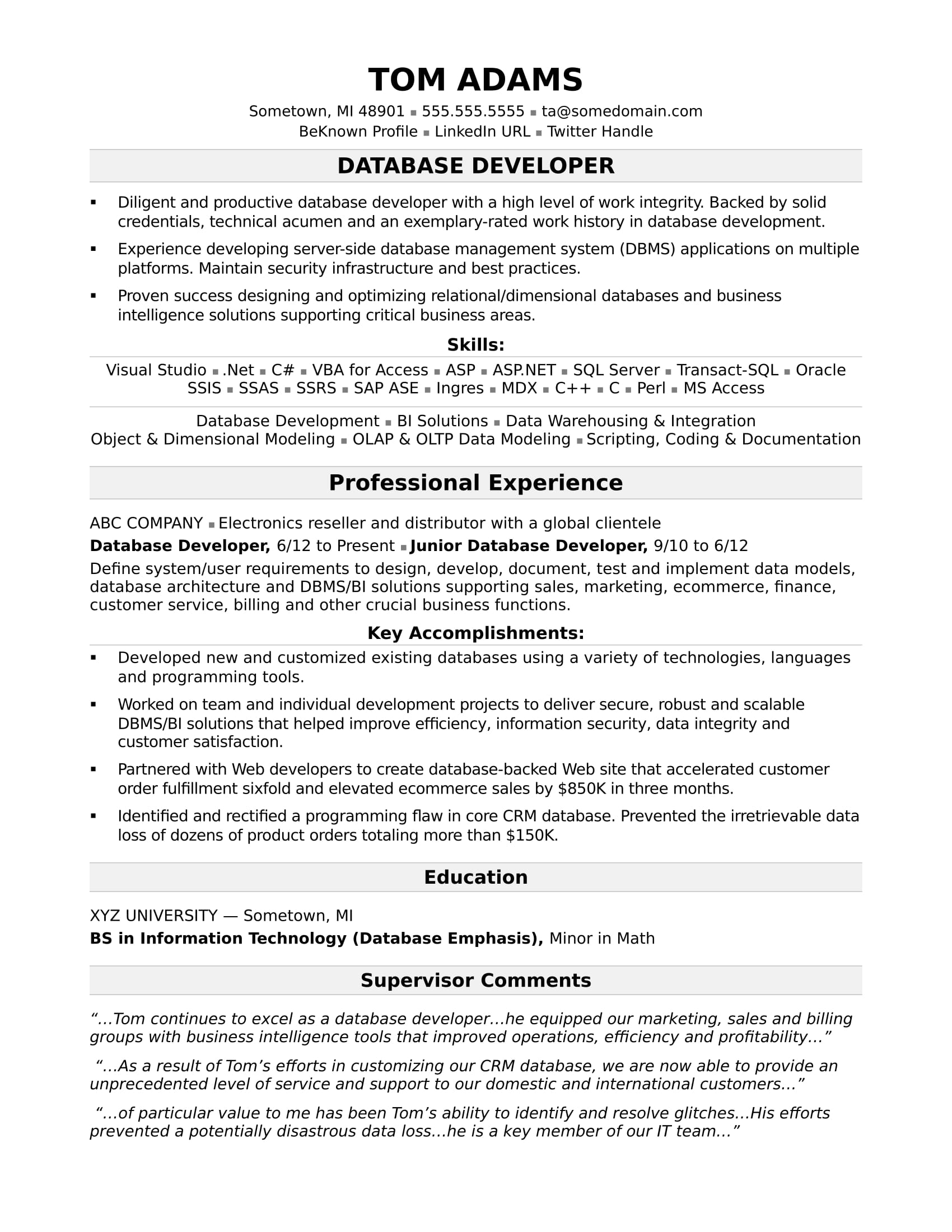 Sample Resume for a Midlevel IT