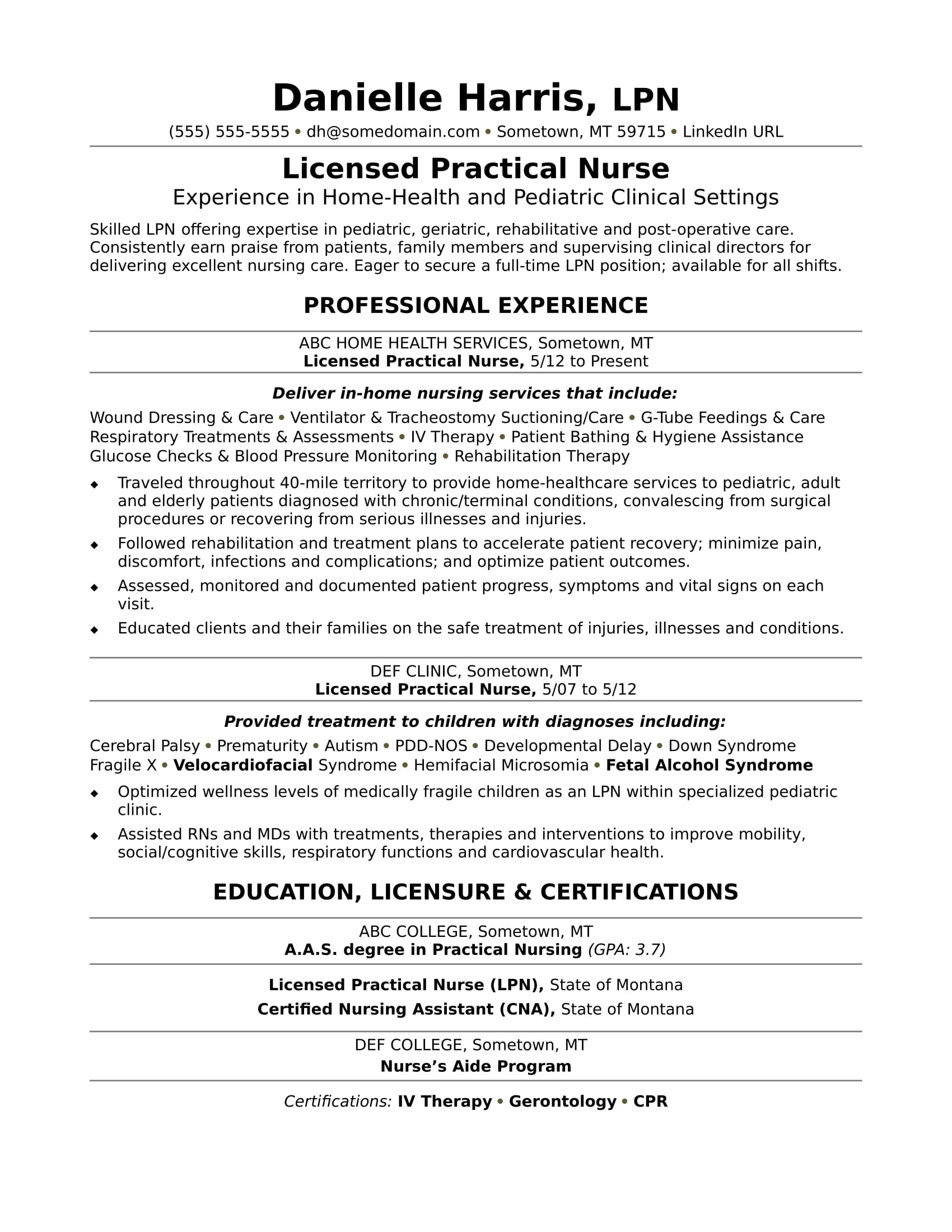 licensed practical nurse resume sample. Black Bedroom Furniture Sets. Home Design Ideas