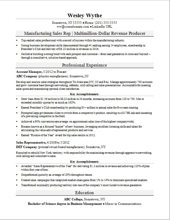 manufacturing sales rep resume sle
