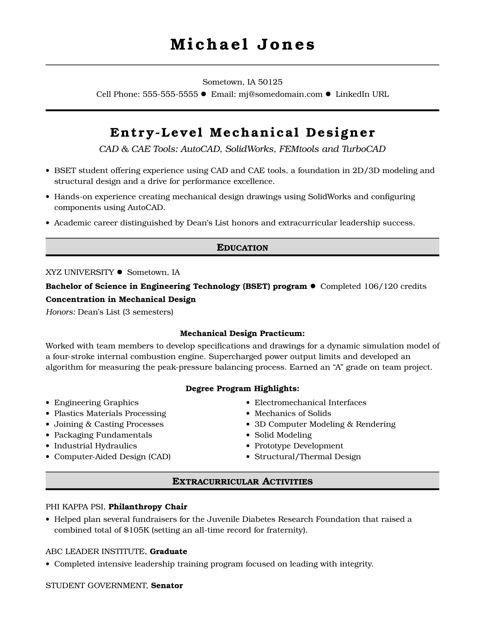 Sample Resume for an Entry-Level Mechanical Designer