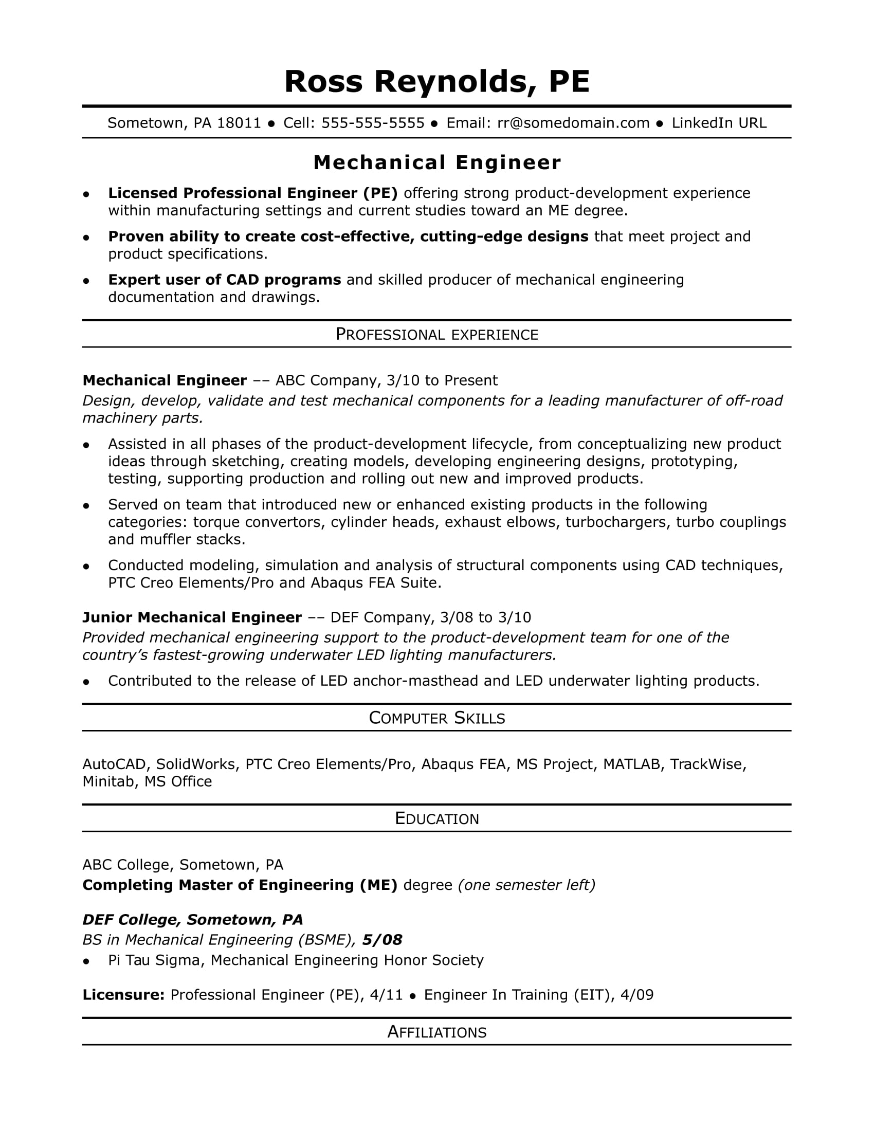 Sample resume for a midlevel mechanical engineer for Sample resume for diploma in mechanical engineering