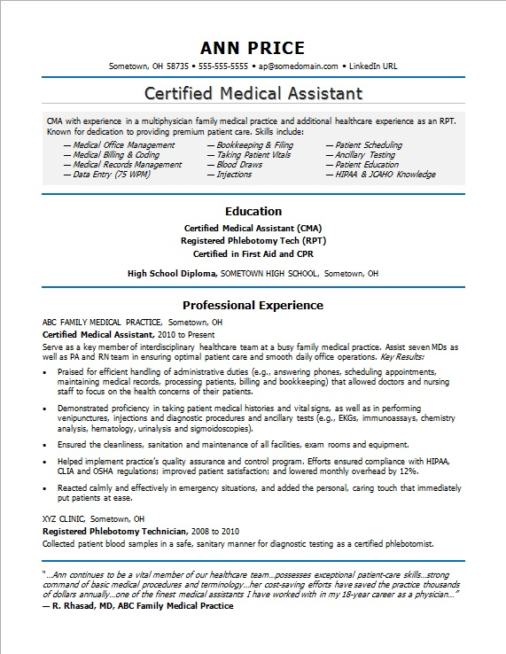 Medical Assistant Resume Sample Monster Com
