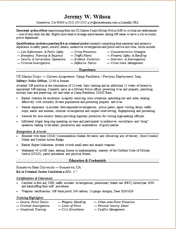 Civilian Resume Sample