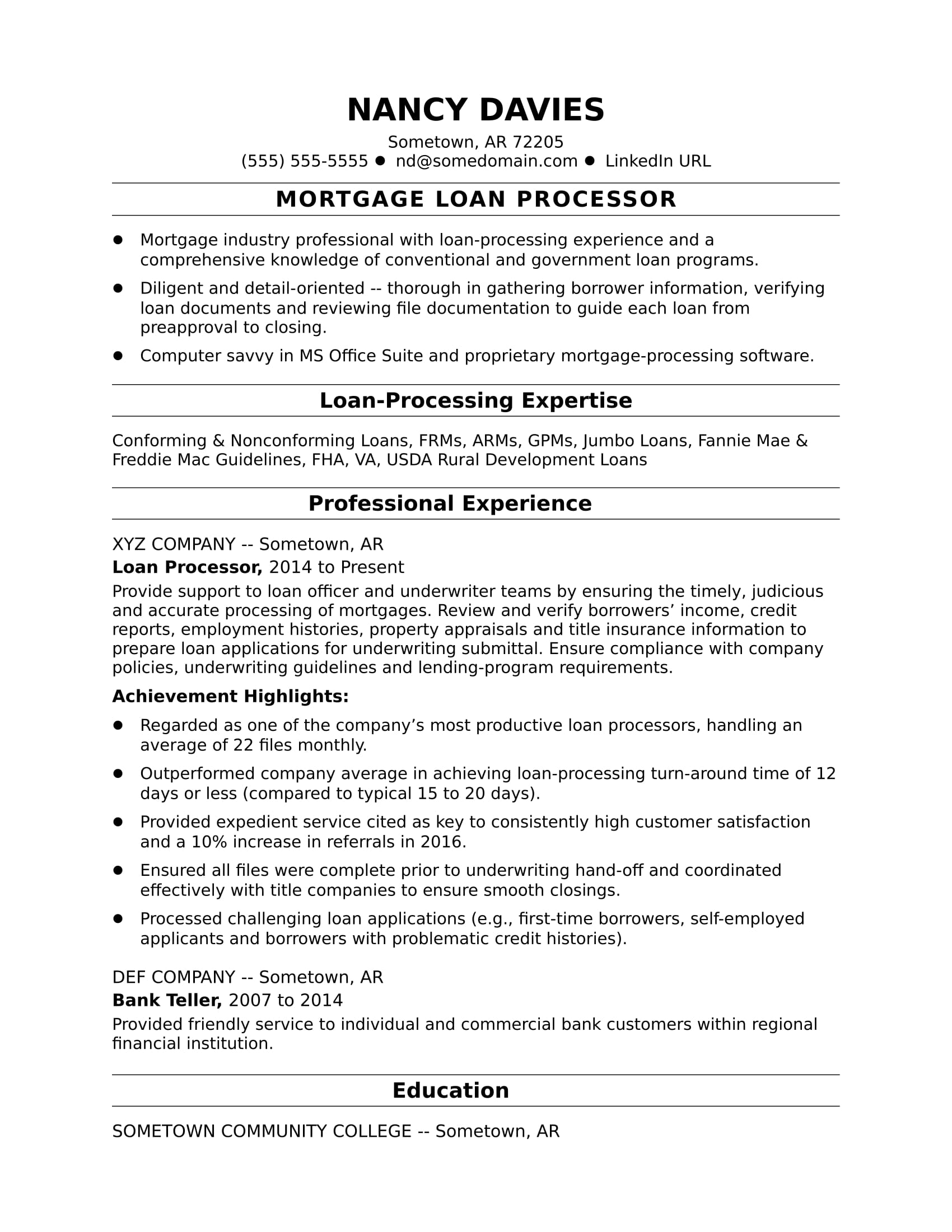 Mortgage Loan Processor Resume Sample Monster Com