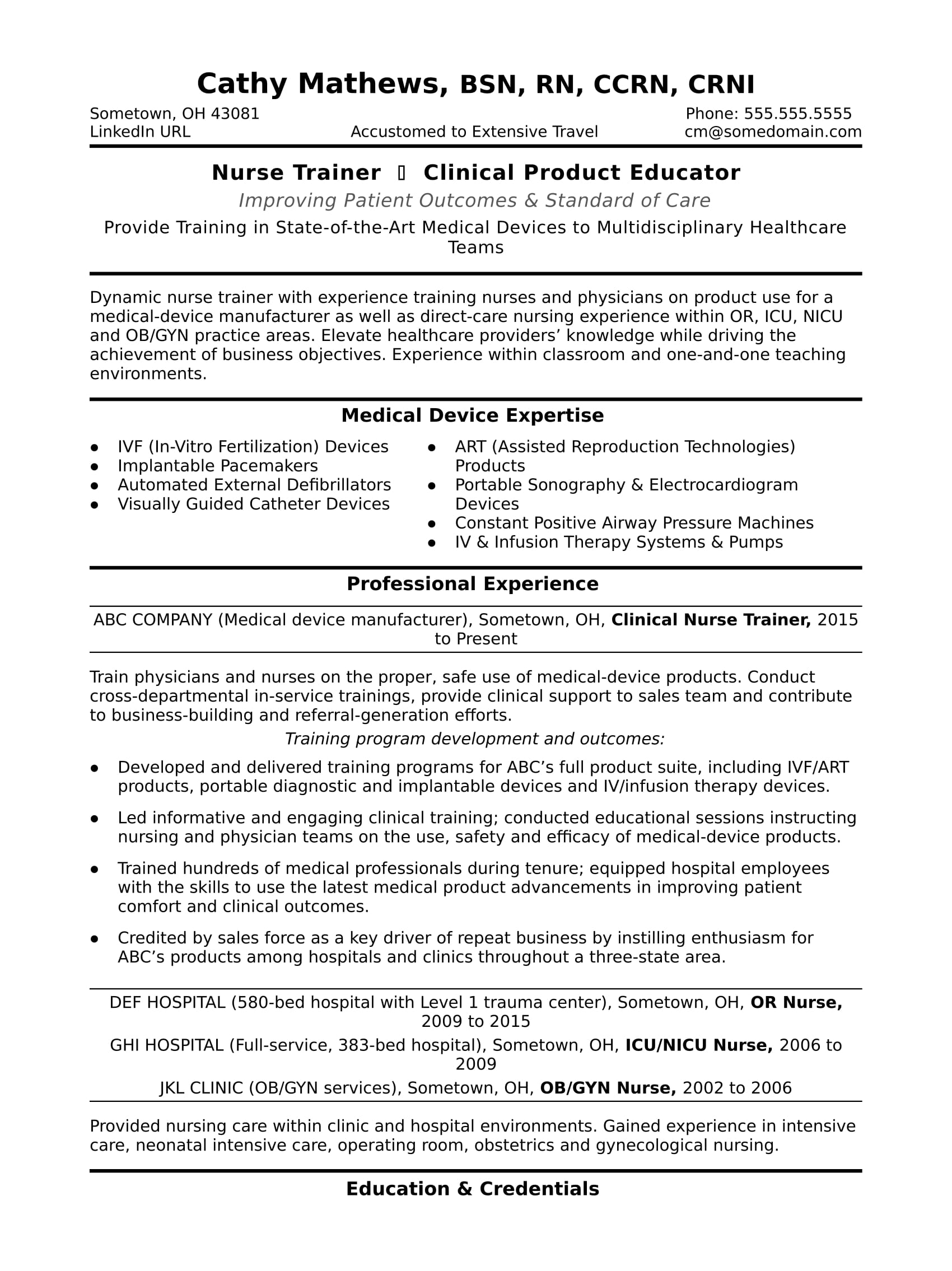 Diversity Meaning Workplace >> Nurse Trainer Resume Sample | Monster.com