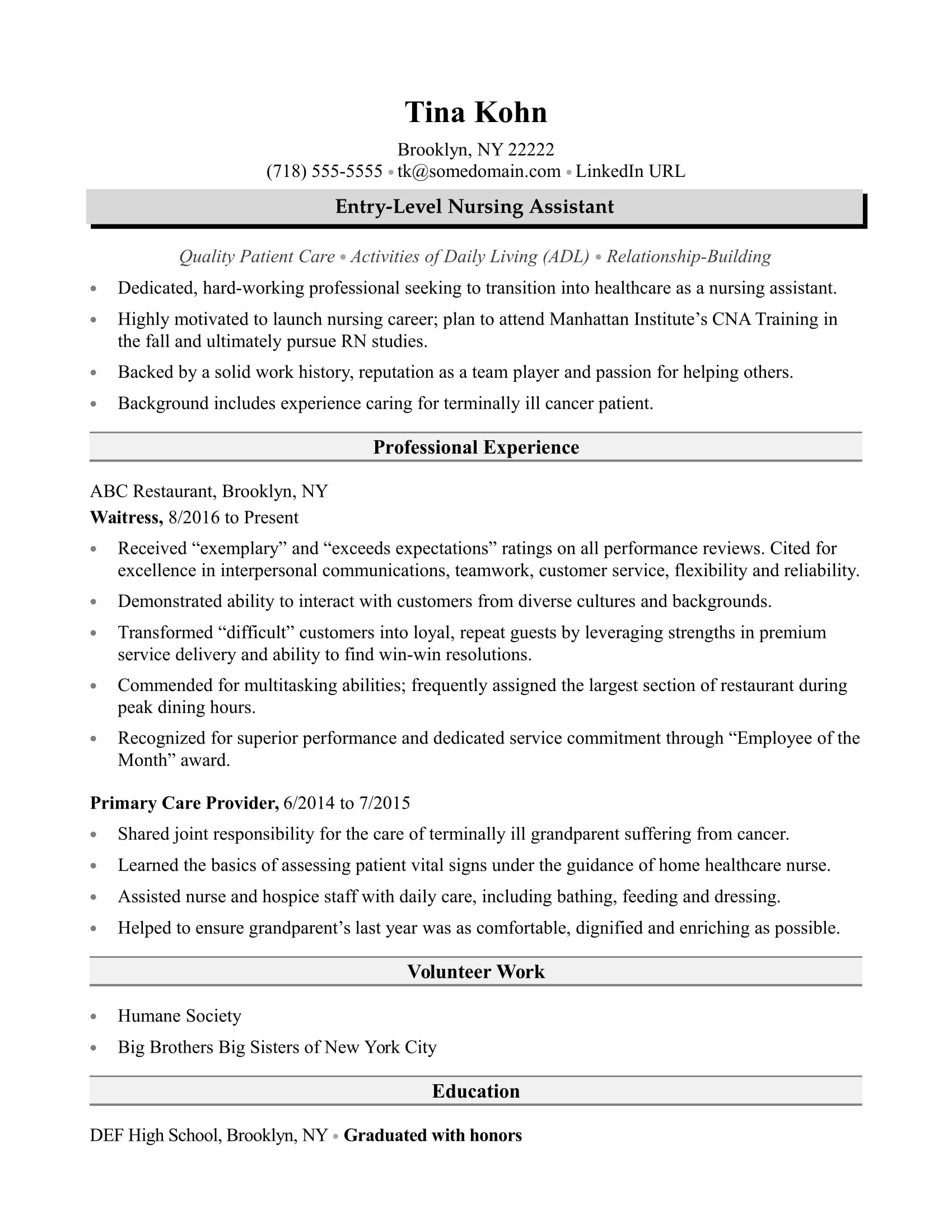 sample resume for nursing aide