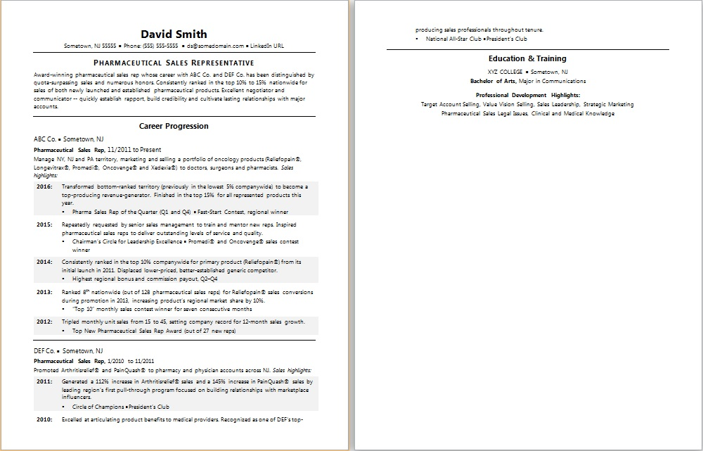pharmaceutical sales resume sample
