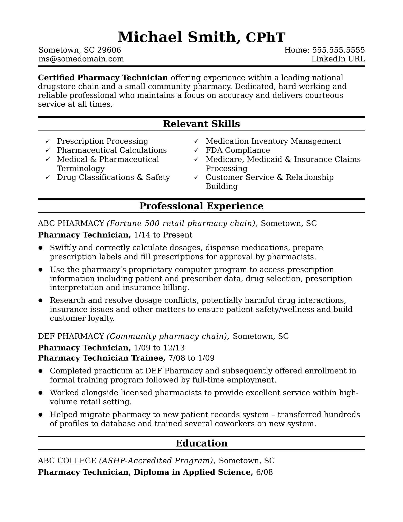 pharmacy tech resume midlevel pharmacy technician resume sample 23961 | pharmacy technician midlevel