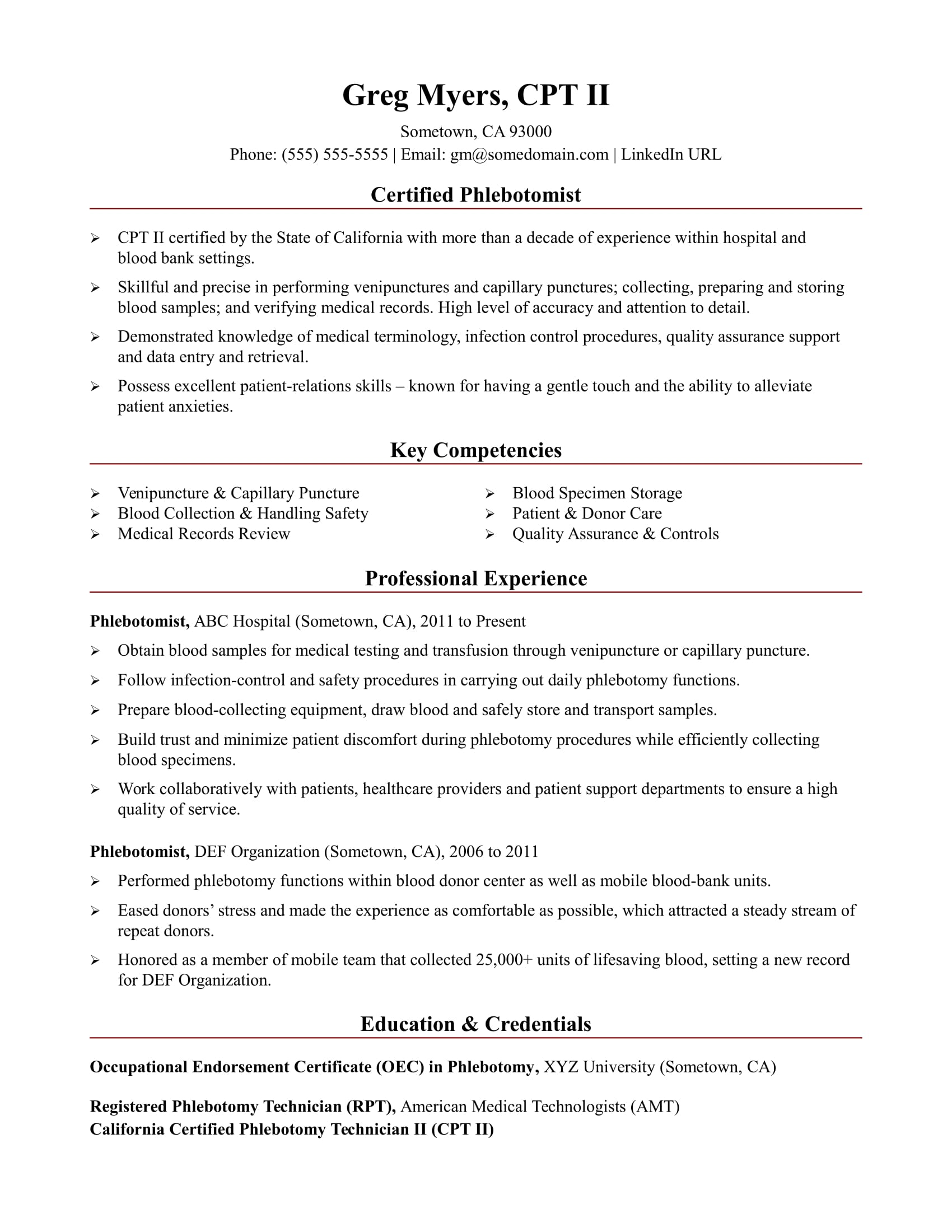 Sample Resume for a Phlebotomist