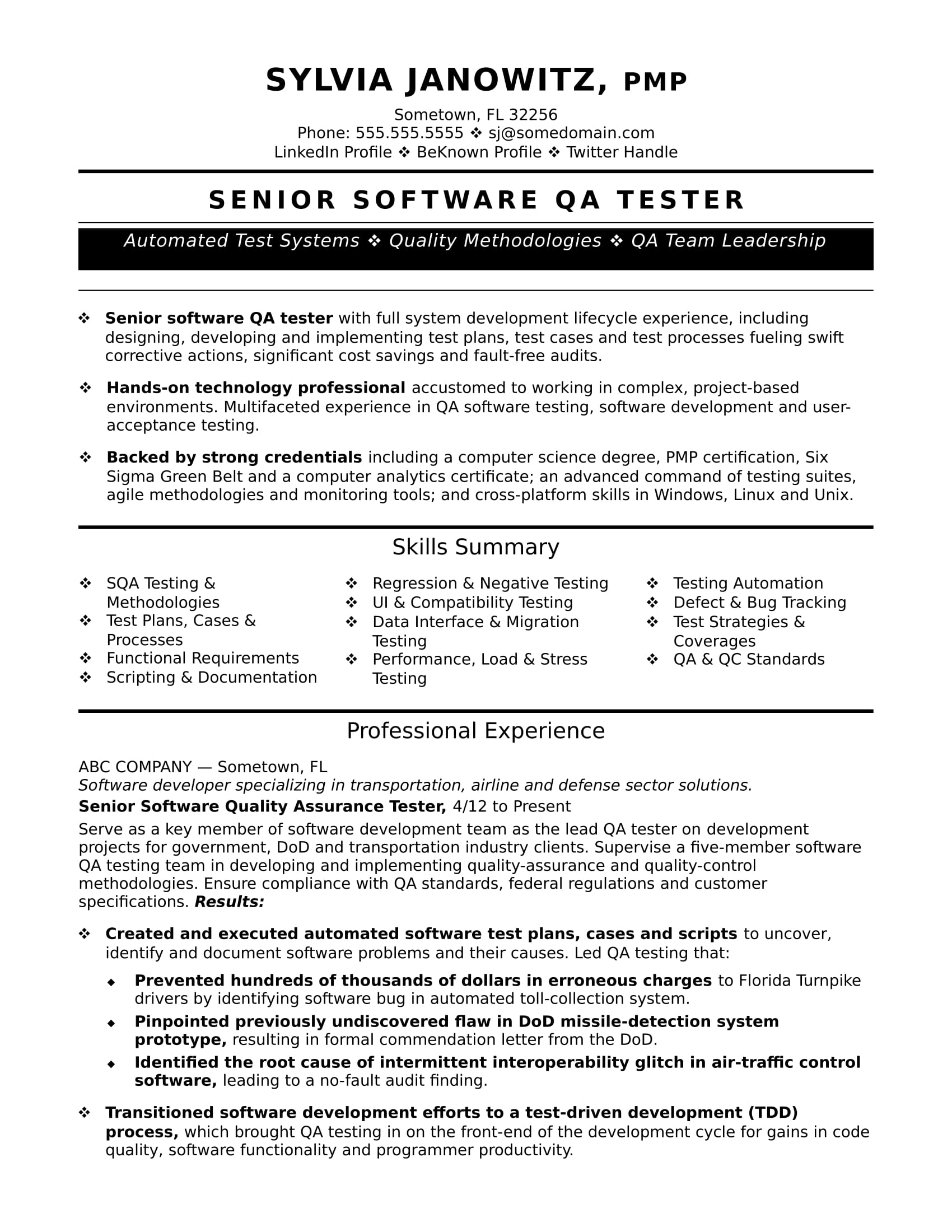 experienced qa software tester resume sle