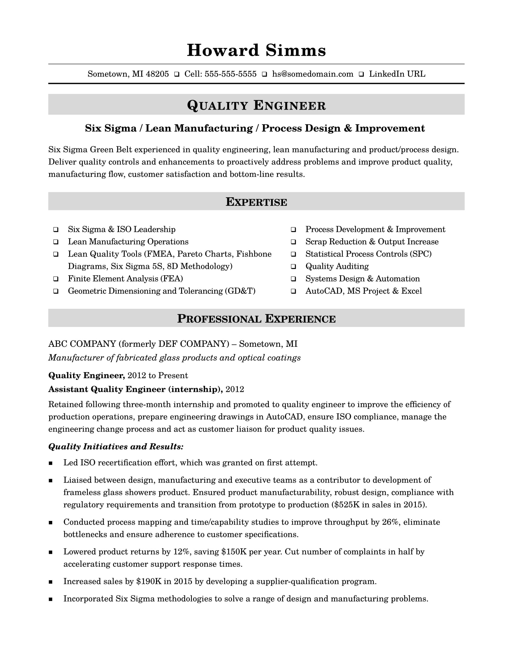 Sample Resume For A Midlevel Quality Engineer Monster Com