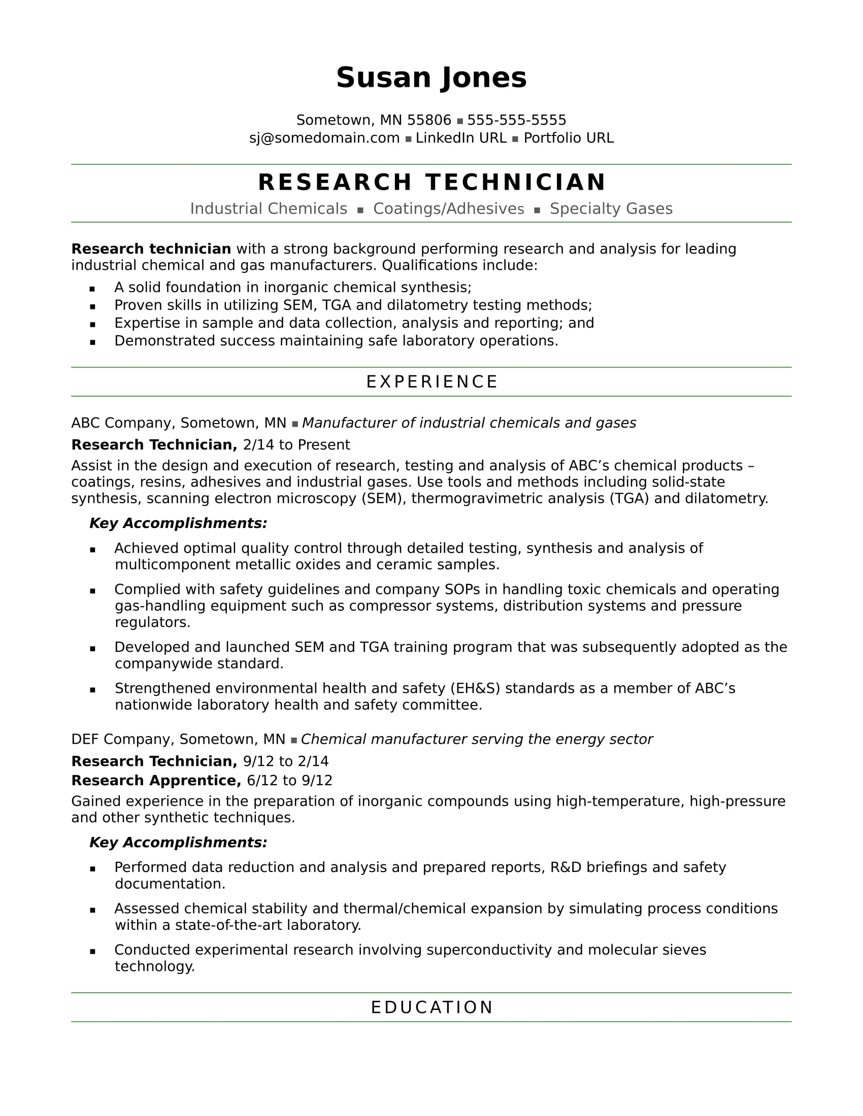 research technician resume sample