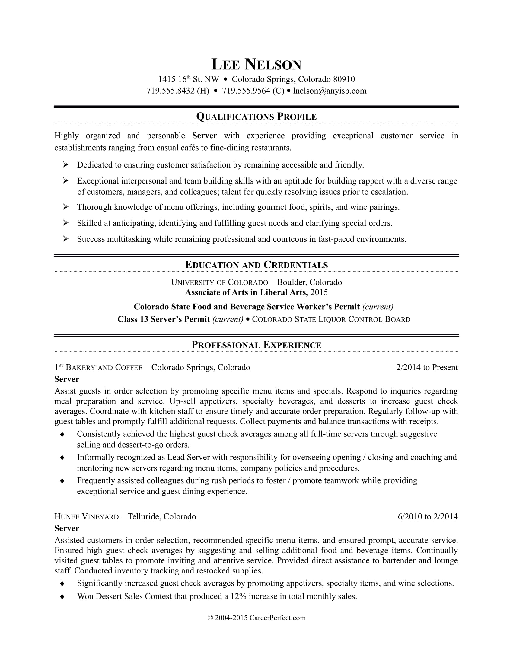 Sample Resume for a Restaurant Server