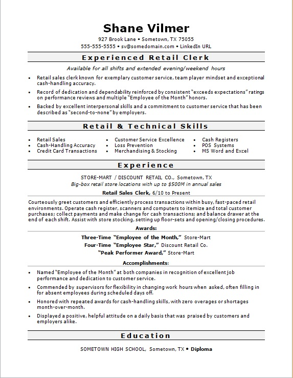 Sample resume for a retail sales clerk