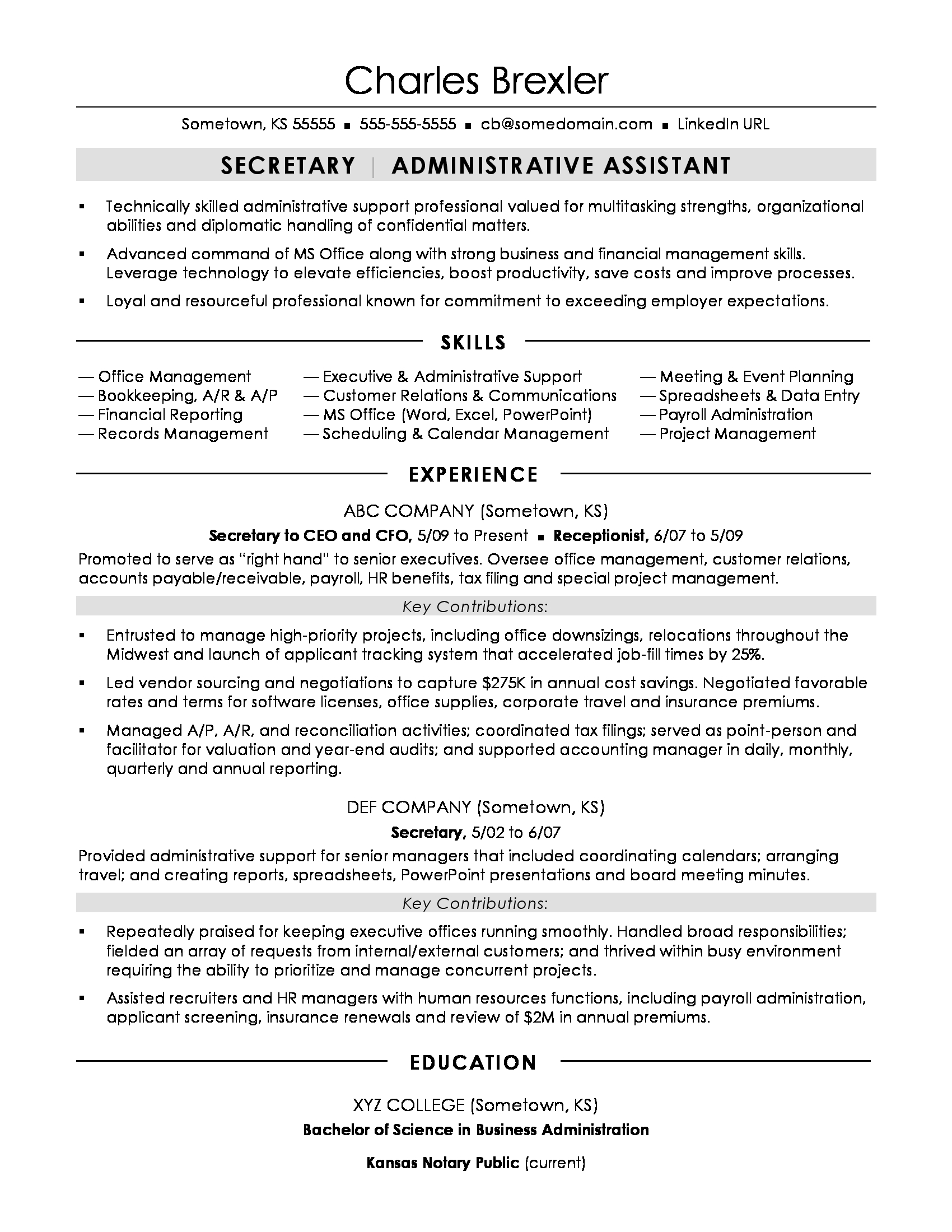 School secretary resume examples