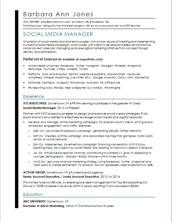 social media resume sample